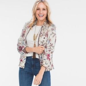 CHICO'S Reversible Bomber Jacket Solid Floral XL